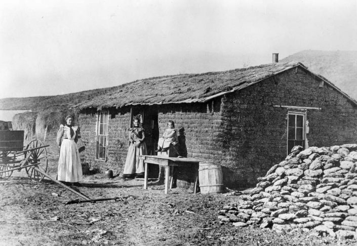 sod house with buffalo chips piled beside it
